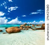 beautiful beach at seychelles ... | Shutterstock . vector #196425680