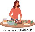 woman preparing salad using...   Shutterstock .eps vector #1964285653