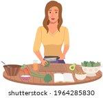 woman preparing salad using...   Shutterstock .eps vector #1964285830