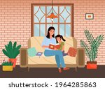 mom telling fairy tales while... | Shutterstock .eps vector #1964285863