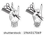 set of female hand with... | Shutterstock .eps vector #1964317069