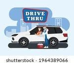 drive thru to take vaccine in... | Shutterstock .eps vector #1964389066