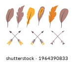 elements with feathers and bow | Shutterstock .eps vector #1964390833
