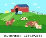 milk farm with happy cow... | Shutterstock .eps vector #1964392963