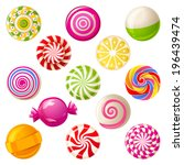 13 round bright lollipops over... | Shutterstock .eps vector #196439474