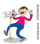 singer with microphone  cartoon | Shutterstock . vector #196439618
