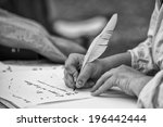 hands while writing a letter... | Shutterstock . vector #196442444