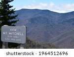 Mount Mitchell State Park, North Carolina, United States - 4-25-2021: View Mount Mitchell overlook along the Blue Ridge Parkway on a beautifully clear day.