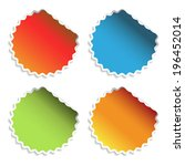 circular stickers   red  blue ... | Shutterstock . vector #196452014