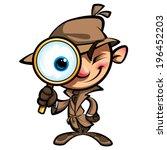 cartoon smart detective in... | Shutterstock .eps vector #196452203
