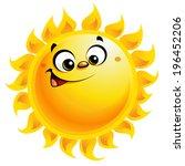 shining yellow smiling sun... | Shutterstock .eps vector #196452206