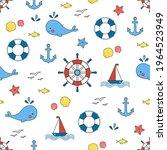 childish marine seamless... | Shutterstock .eps vector #1964523949