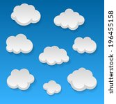 flat clouds on blue sky and... | Shutterstock .eps vector #196455158