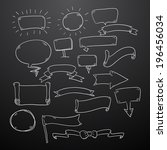 chalk drawn speech bubbles... | Shutterstock .eps vector #196456034