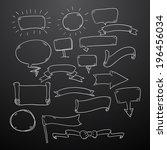 chalk drawn speech bubbles... | Shutterstock .eps vector #196456034