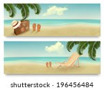 two retro summer vacation... | Shutterstock . vector #196456484