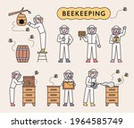 beekeepers raise bees and...   Shutterstock .eps vector #1964585749