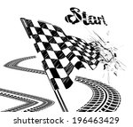 drawing checkered flag in the... | Shutterstock .eps vector #196463429