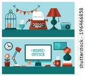 Flat vector illustration of banners for vintage home office and modern workplace