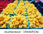 Golden Yellow Raspberries In...