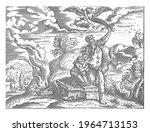 an angel stops abraham who is... | Shutterstock . vector #1964713153