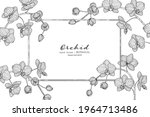 orchid flower and leaf hand... | Shutterstock .eps vector #1964713486