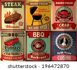 vintage bbq steak poster design ... | Shutterstock .eps vector #196472870