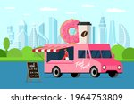 fast food pink truck with baker ... | Shutterstock .eps vector #1964753809