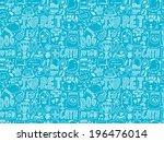 seamless doodle pet pattern | Shutterstock .eps vector #196476014