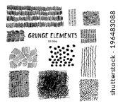 set of grungy textures. dots ... | Shutterstock .eps vector #196483088