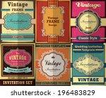 vintage frame poster design set | Shutterstock .eps vector #196483829