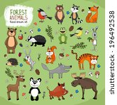 forest animals large set hand... | Shutterstock . vector #196492538