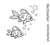 cute cartoon two sea fishes... | Shutterstock .eps vector #1964932786