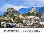 Historical Sion town with its two castles, Chateau de Tourbillon and Valere Basilica, spectacular set in the swiss Alps mountains, canton Valais, Switzerland