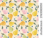 kawaii pears seamless pattern... | Shutterstock . vector #1965083050
