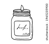 burning aroma candle in a jar...   Shutterstock .eps vector #1965235900