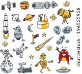 a collection of cartoon space... | Shutterstock .eps vector #196525928