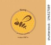 vector honey bee icon on... | Shutterstock .eps vector #196527089