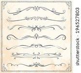 line design vector set of aged...   Shutterstock .eps vector #196527803