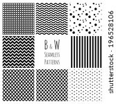 set of 8 seamless black and... | Shutterstock .eps vector #196528106