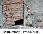 Old Broken Ancient Brick Wall...