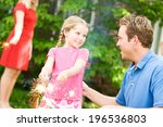 summer  girl and father using... | Shutterstock . vector #196536803