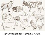 farm animals. set of vector... | Shutterstock .eps vector #196537706