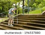 elderly man climbs the stairs...   Shutterstock . vector #196537880