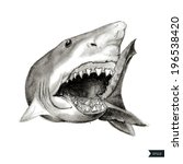 painted angry shark with open... | Shutterstock .eps vector #196538420