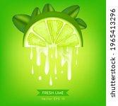 realistic half fresh lime slice ...   Shutterstock .eps vector #1965413296
