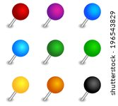 set of round pushpins for your... | Shutterstock . vector #196543829