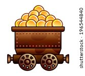 iron mine cart with coins for...