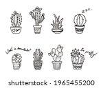 outline cactus in pot. contour... | Shutterstock .eps vector #1965455200
