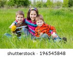 group of smiling kids with... | Shutterstock . vector #196545848